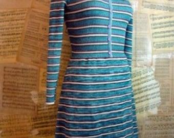 SALE Dress Vintage 60's Young East Stretchy Mod Stripe Mini Dress Xsmall