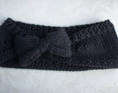 Black Bow Headband/ Ear warmer