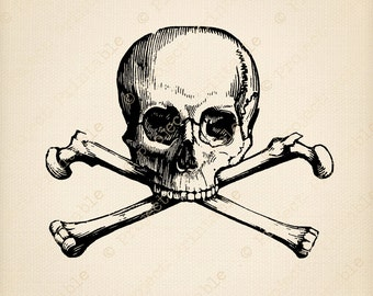 SKULL AND CROSSBONES - Instant Download Skeleton Pirate Graphics - Fabric Transfer - Printable Digital clipart