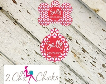 Personalized Pet Tag - Bone or Round Shape - Preppy Red