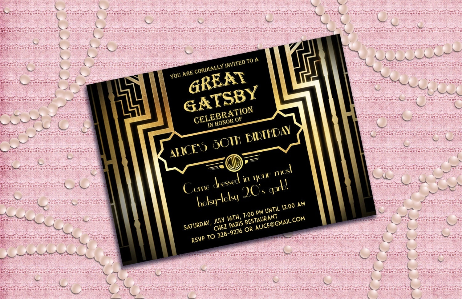 It's just a photo of Simplicity Gatsby Party Invitations