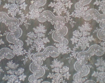 "Very distressed antique jacquard fabric piece.51x103"""