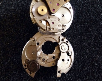 Owl Steampunk Watch Part Brooch