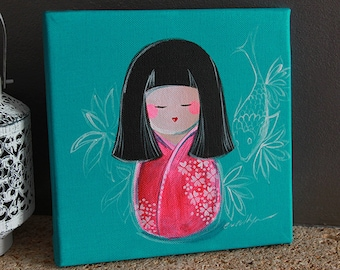 Acrylic on canvas Mini Kokeshi Ilma