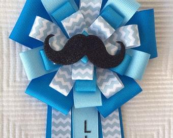 Mustache Baby Shower Corsage Pin Little Man Blue