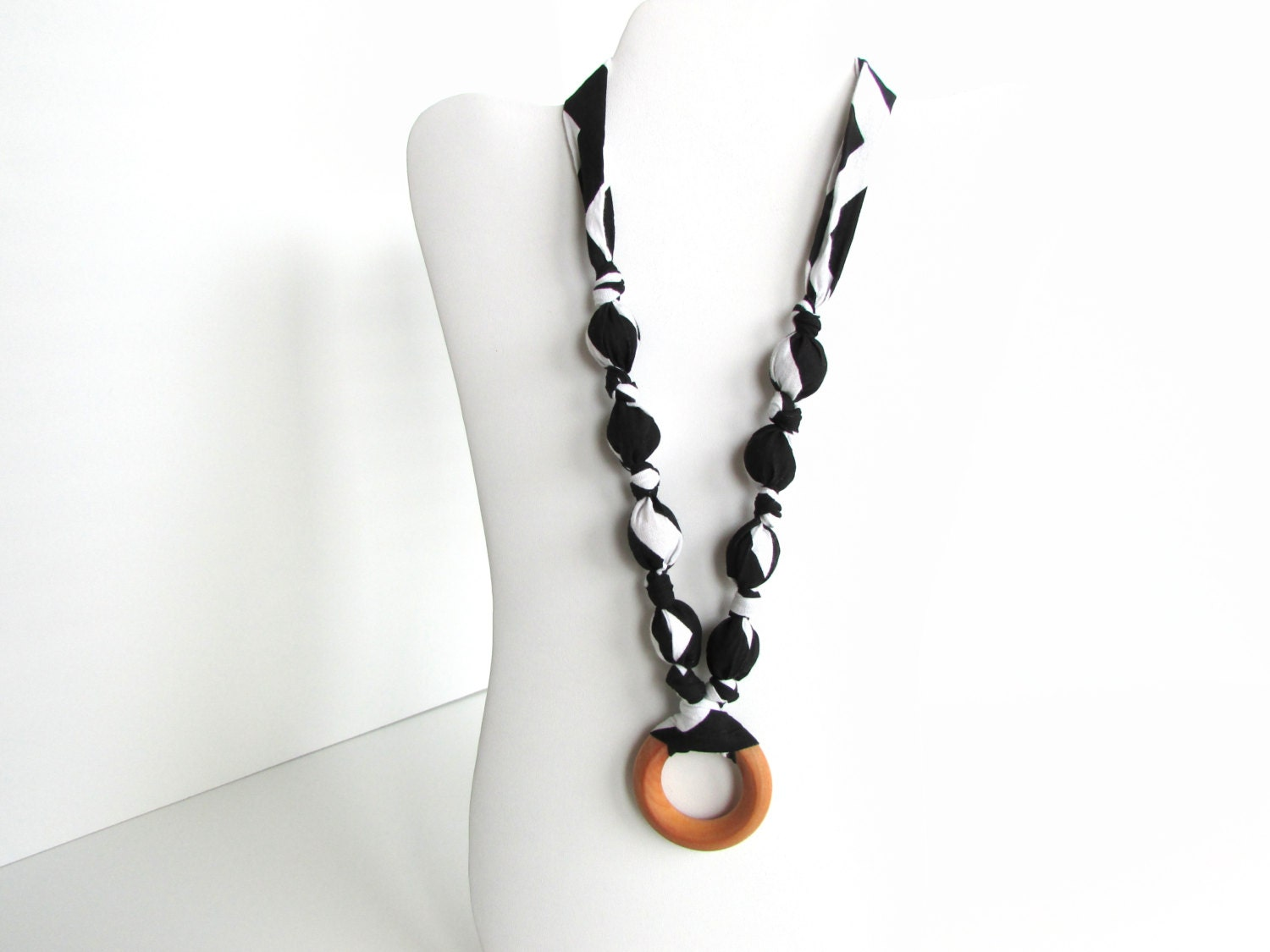 black thick chevron beaded fabric necklace nursing necklace