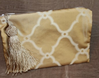 Makeup Bag - 100% Silk - Chopin - Champagne Tassel