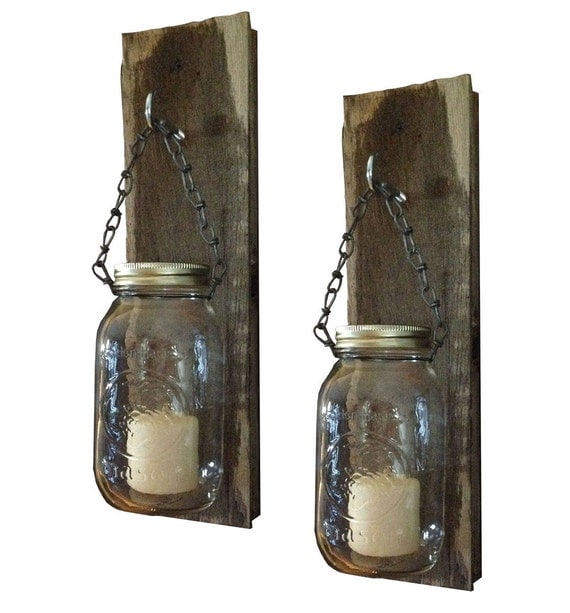Mason Jar Candle Holder Sconce Pair Distressed Wood Wall