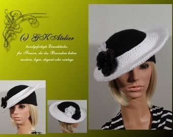 crochet Hat Summerlove b&w