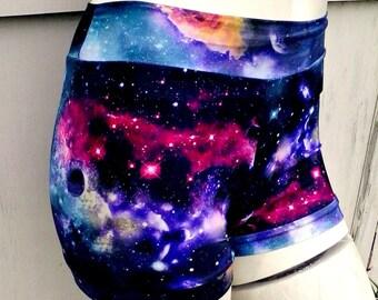 Black hole Galaxy Nebula bikini boyshort shorts swim Roller Derby uv glow