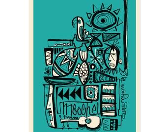 south sea art, Wall decor, Polynesian pop, Mid Century Modern Art Print Poster Vintage Retro Style.A3size