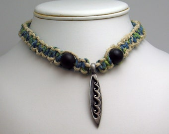 Green & Blue Tie Dyed Hemp Surfer Necklace