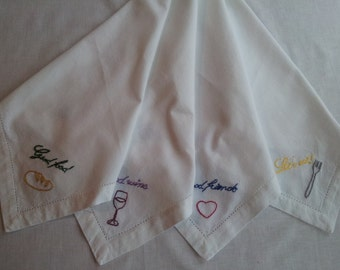 Popular items for embroidered napkins on Etsy