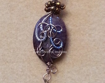 Purple Agate Gemstone Wire Wrapped Pendant