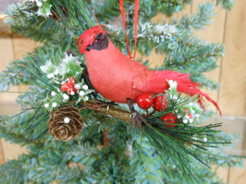 Christmas Decorations Red Birds : Cardinal christmas ornament country