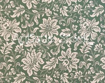Green Floral Digital Paper - Flowery Wallpaper Digital Sheet - Vintage Pattern