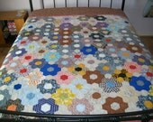 VINTAGE hand pieced hexagon patchwork newly remade into a beautiful, functional quilt