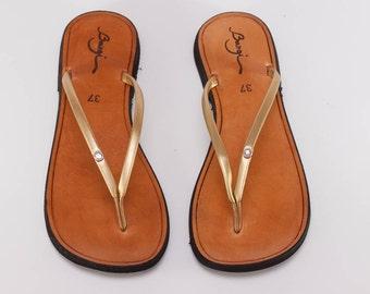 Gold Sandals, Gold Flip Flops, Flat Sandals, Summer Shoes , Free Shipping