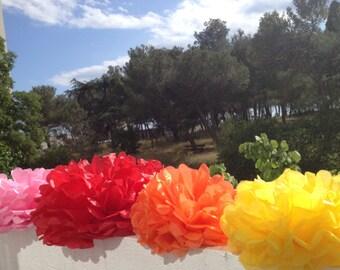 "12 Paper Pom Pom Bridal Shower Decor Tissue Pom Pom Paper Decorations Tissue Paper Flowers Wedding Decoration Paper Pom 8""10""12"" Yellow Red"