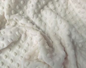 White Minky - Large Remnants - 19 x 34 inches - Cuddle Dimple Dot by Shannon - Destash - Minky Scraps - Top Quality