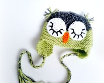 Knit Owl Hat, Crochet Sleeping Owl, Sleepy Owl Hat, Lime Green Gray, Newborn Photo Prop, Baby Shower Gift, Baby Owl Hat, Crochet Owl Hat