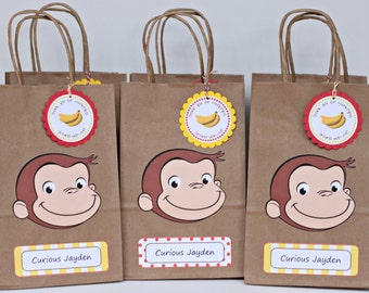 Curious George birthday party goody bags / READY-MADE / set of 12