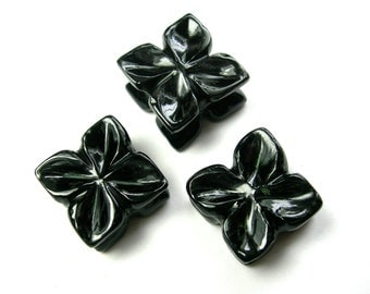 41.1 CTS Black Onyx Hand Carved flower by Unique Indian Carving Perfect 3 Pieces Set For Making Earrings & Pendant