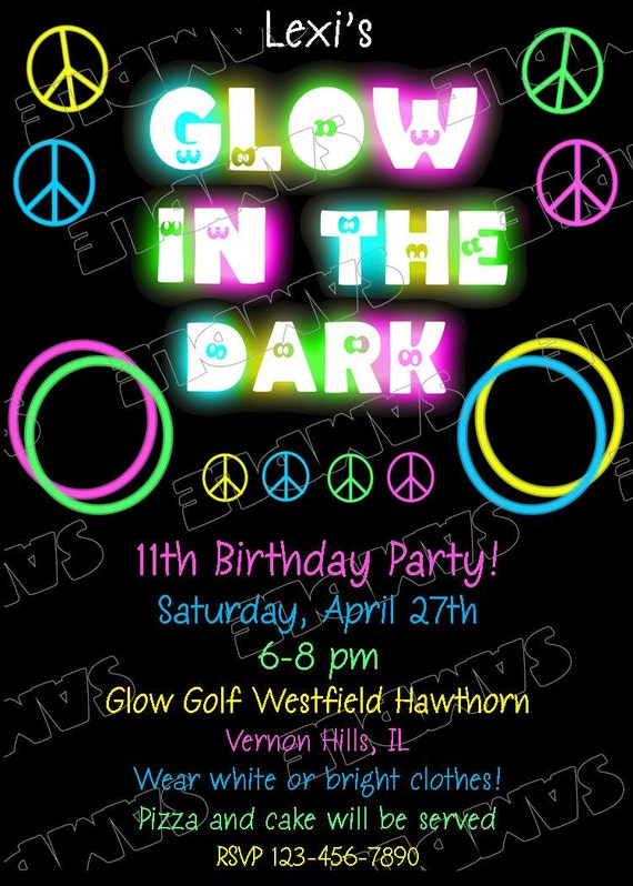 www uprint com templates glow in the dark peace signs invitation glow party