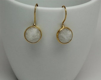 Rainbow Moonstone Bezel Earrings, Gemstone Earrings, Bezel Earrings, June Birthstone Earrings, Bezel Set Earrings