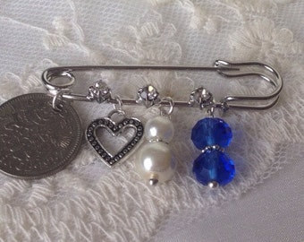 Heart Sixpence Bridal Gift Bridal Pin Heart Something Old New Borrowed Blue Garter Pin