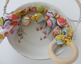 FREE SHIPPING! Sunrise Fabric Necklace, Nursing Necklace, Teething Necklace, Mom Necklace, Chewelry, Breastfeeding, Chew Beads