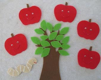 5 Little Apples (Teasing Mr. Slinky Worm) felt set
