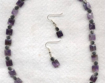 Amethyst Faceted Squares Necklace and Earrings.