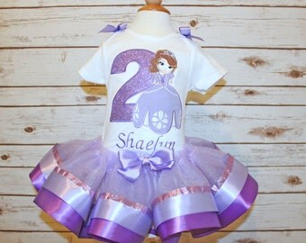 Princess Sofia birthday outfit sofia the first birthday ribbon tutu purple sofia set embroidered shirt personalized glitter applique