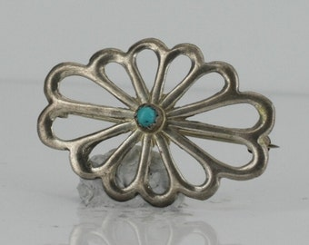 Vintage Native American Sterling Silver Native American Flower Design Turquoise Pin NA3173