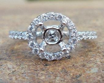 14K White Gold 4MM Round Shape Fashion Semi Mount Ring / Diamond Ring / Engagement Ring