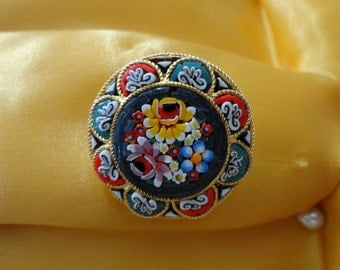 Vintage Italian Brooch…Micro Mosaic Brooch…Micro Mosaic Jewelry...Italian Mosaic Brooch...Tessare