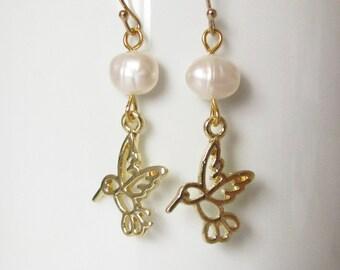 Hummingbird Pearl Earrings Gold Earrings Freshwater Pearl Dangle Earrings Handmade Jewelry 14kt Gold Filled Ear Wires