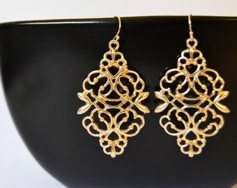 Gold Filigree Earrings, Gold Bridesmaid Earring, Gold Clip Earrings, Gold Wedding Earrings
