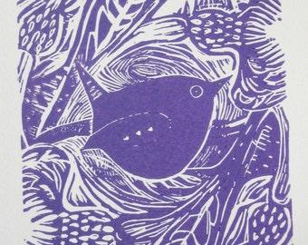 Wren in the Cornflowers - an original Linocut print