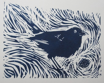 Blackberry Way - An original Linocut print