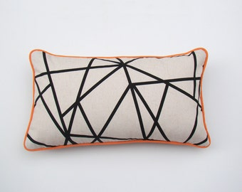 Geometric Cushion Cover, decorative lumbar pillow case, throw pillow, black and white, orange