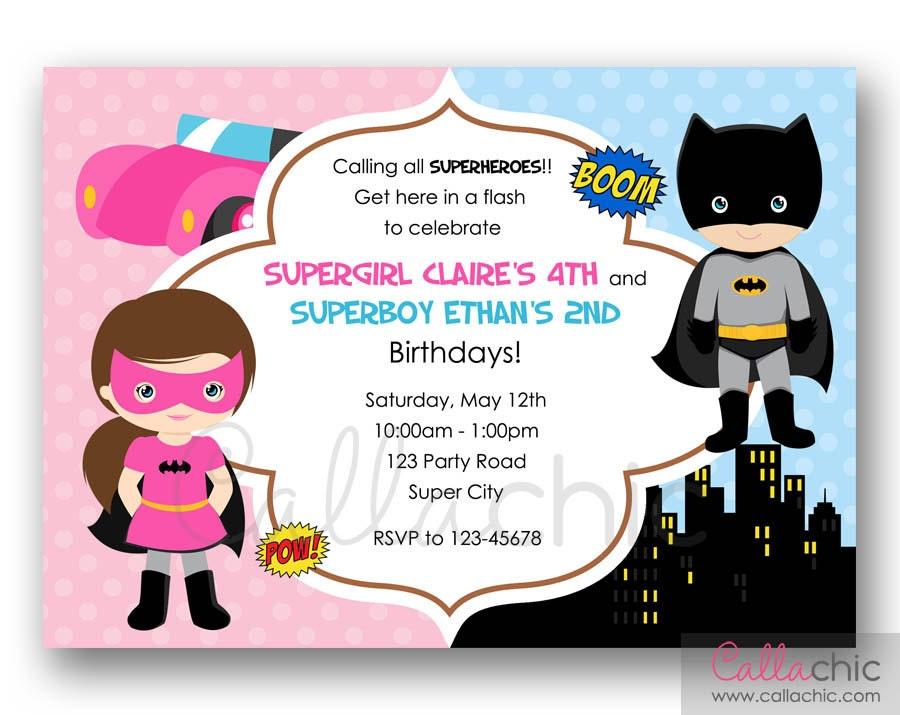 Batman and Batgirl Birthday Invitation PRINTABLE by CallaChic