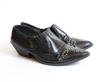 1980's studded black ankle cowboy boots sz 5