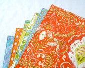 Large Cloth Placemats - Set of 6 - Orange Blue Green Yellow Ikat- Variety, Assorted, Mismatched - Reversible