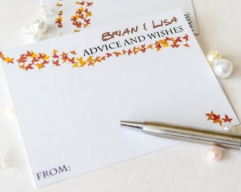 Advice and wishes cards, wedding comment cards, fall wedding decor, fall wedding cards, guest book cards , autumn wedding cards- 30 cards