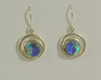 dangly glass and silver earrings