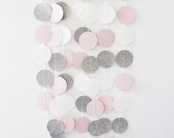 Silver, Pink and White Circle Paper Glitter Garland - Wedding, Birthday, Bridal Shower, Baby Shower, Nursery, Decor - 10 Feet Long