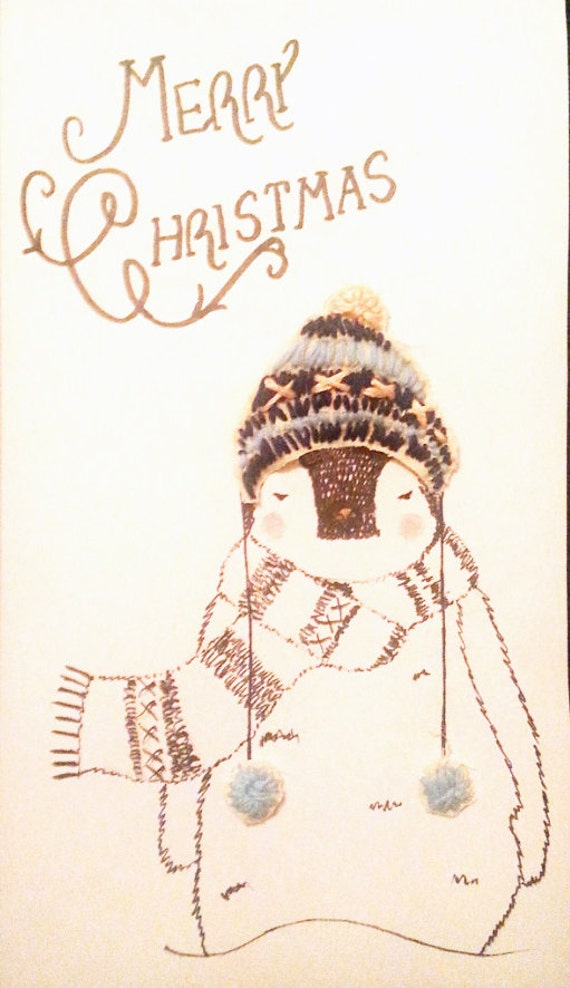 Hand-made 'Penguin in Embroidered Christmas Hat' Card