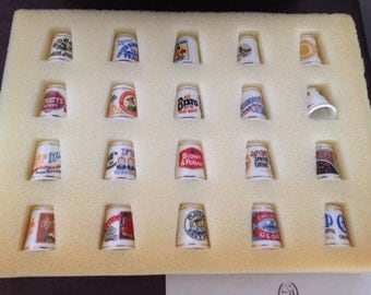 """Franklin Mint Set of 20 """"The Village ShopThimbles"""" with Stand and Cards"""